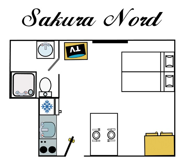Map of Sakura  studio 18 sqm Val d'Isère